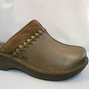 Born Brown and Suede Leather Mules Sz 9 M